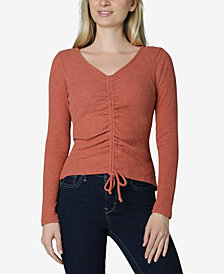 Ultra Flirt Juniors' Ribbed Ruched-Front Top