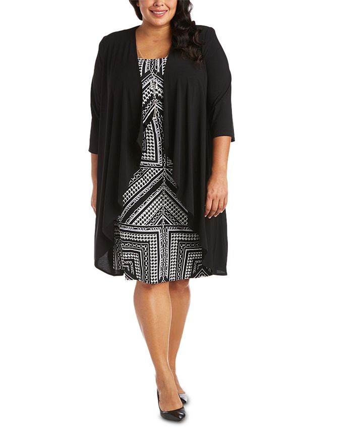 R & M Richards - Plus Size Printed Necklace Dress & Draped-Front Jacket