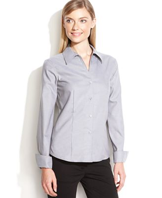 Calvin klein fitted button down shirt tops women macy 39 s for Womens button down shirts fitted