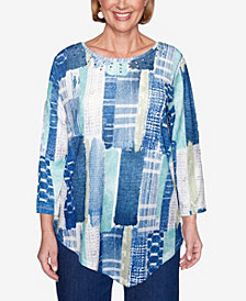 Alfred Dunner Women's Plus Size Denim Friendly Etched Patchwork Top