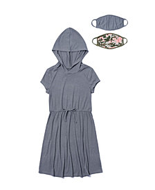 Big Girls Short Sleeve Hooded Waist Tie Dress with Matching Reversible Mask, Set of 2