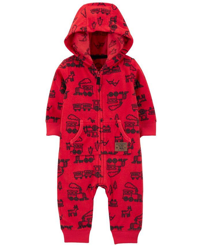 Carter's - Carters Baby Boy Zip-Up Hooded Fleece Jumpsuit