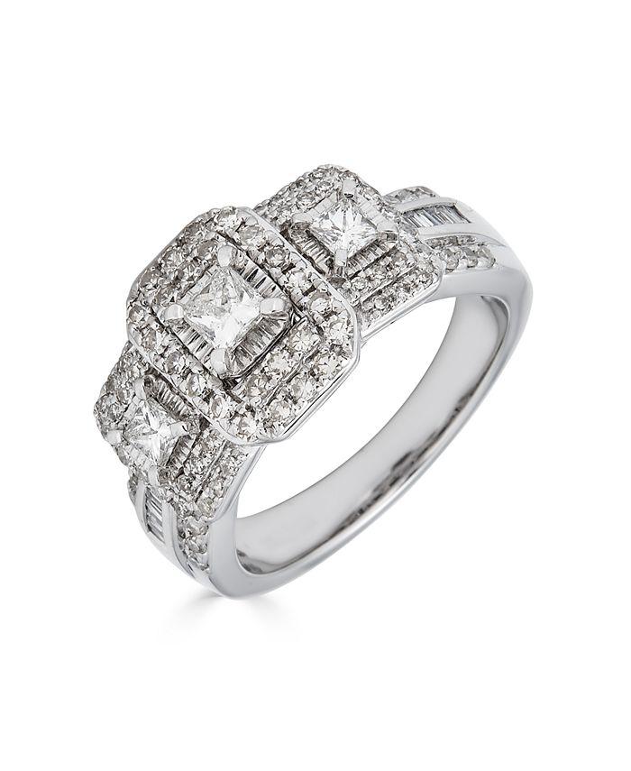 Macy's - 1 Carat Diamond 3-Stone Princess Cut Ring in 14K White Gold