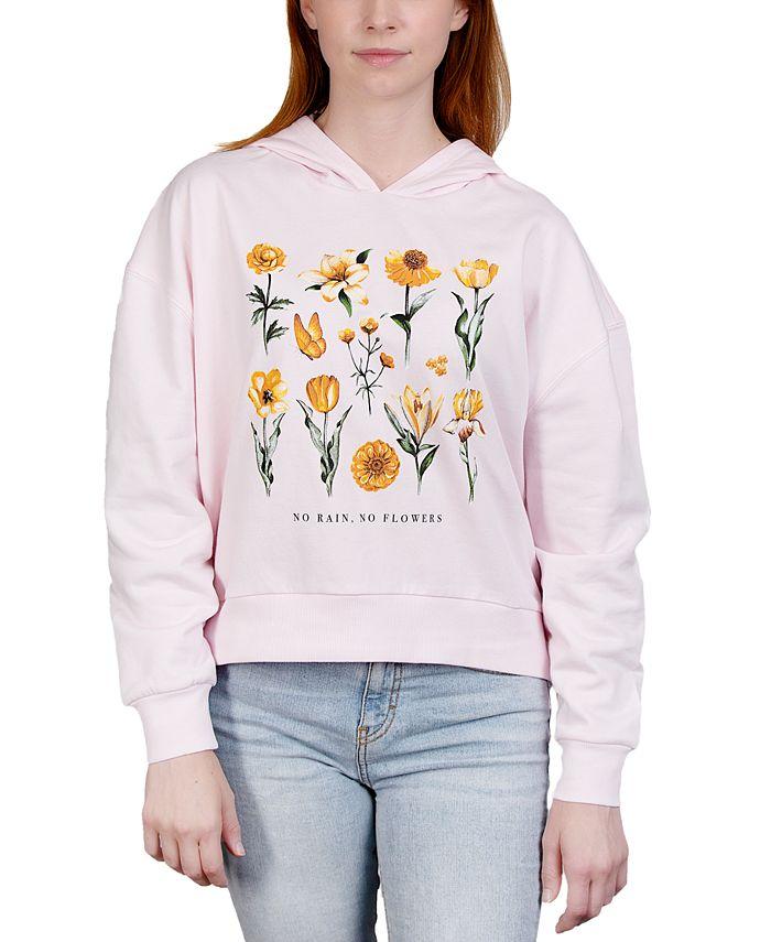 Rebellious One - Juniors' Flower-Print Hooded Sweatshirt