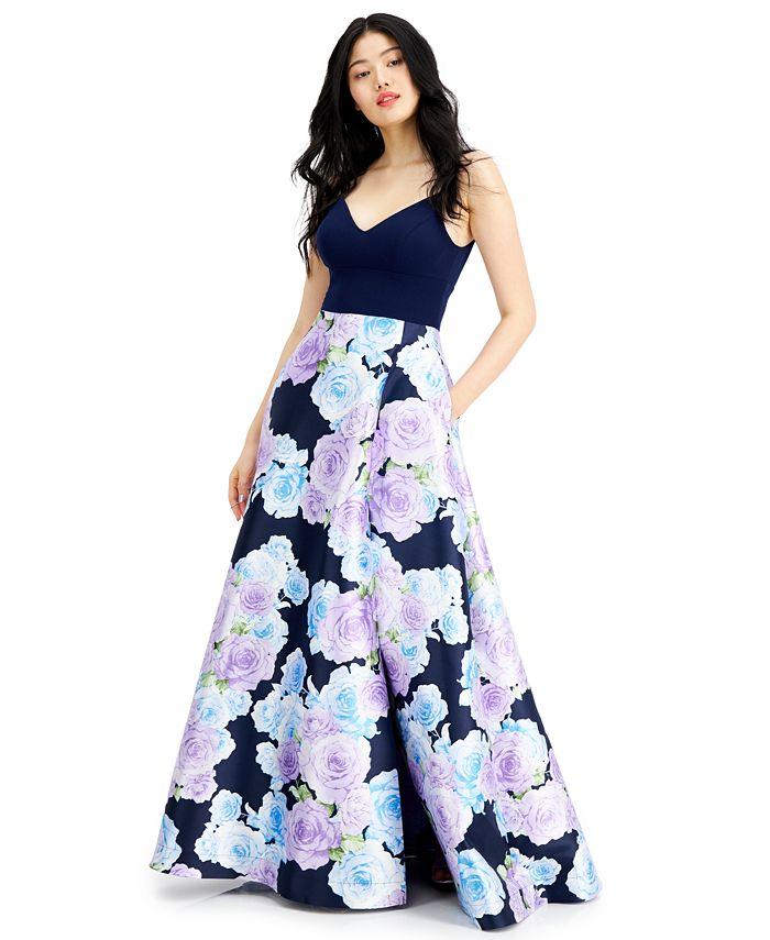 B Darlin - Juniors' Floral-Print Gown
