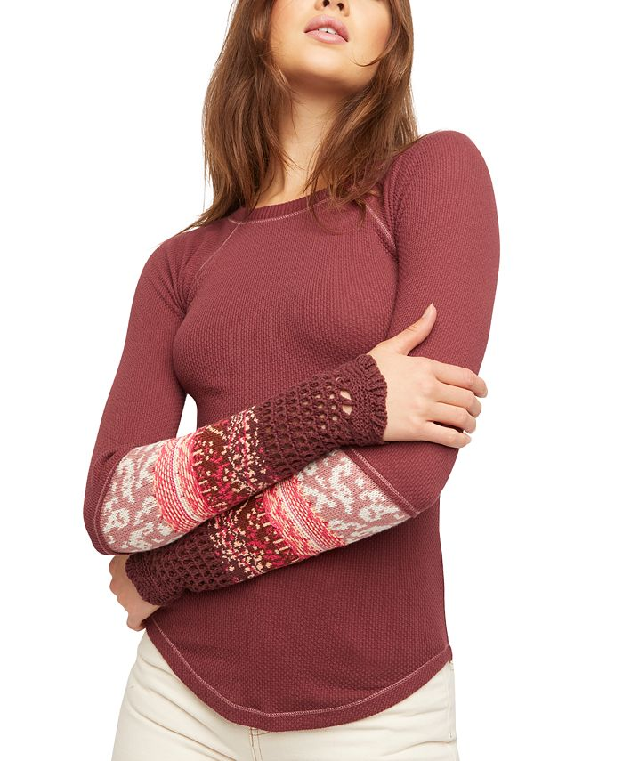 Free People - In The Mix Contrast-Cuff Thermal Top