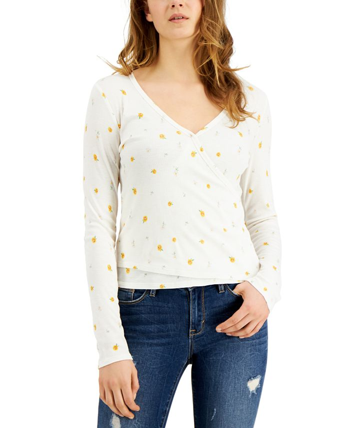 Self Esteem - Juniors' Floral-Printed Rib-Knit Surplice Top