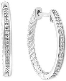 EFFY® Diamond Hoop Earrings (1/6 ct. t.w.) in Sterling Silver