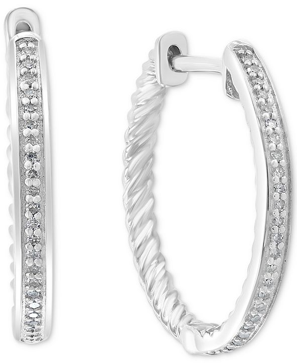 EFFY Collection EFFY® Diamond Hoop Earrings (1/6 ct. t.w.) in Sterling Silver