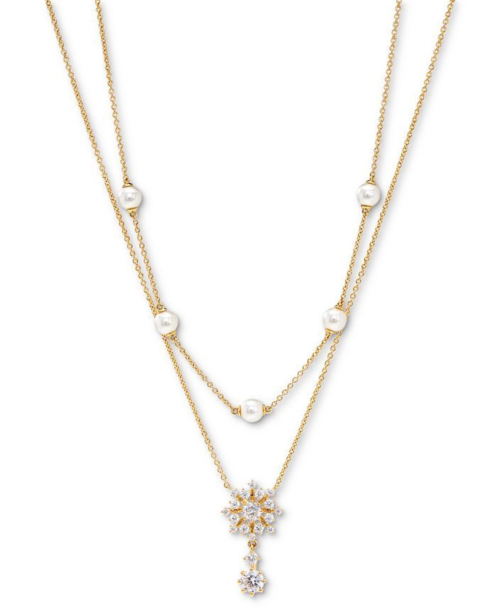 "Eliot Danori - Felicity Snowflake Crystal & Imitation Pearl Two-Row Necklace, 16"" + 2"" extender"