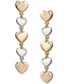INC Two-Tone Heart Linear Drop Earrings, Created for Macy's