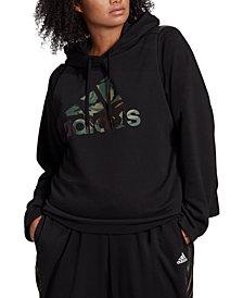 adidas Essentials Plus Size Camo Logo Hoodie
