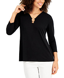 JM Collection Crepe Ring-Detail Top, Created for Macy's