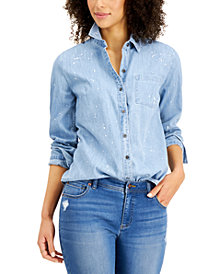 Style & Co Cotton Paint-Splatter Chambray Shirt, Created for Macy's