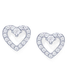 Cubic Zirconia Open Heart Stud Earrings in Fine Silver Plate
