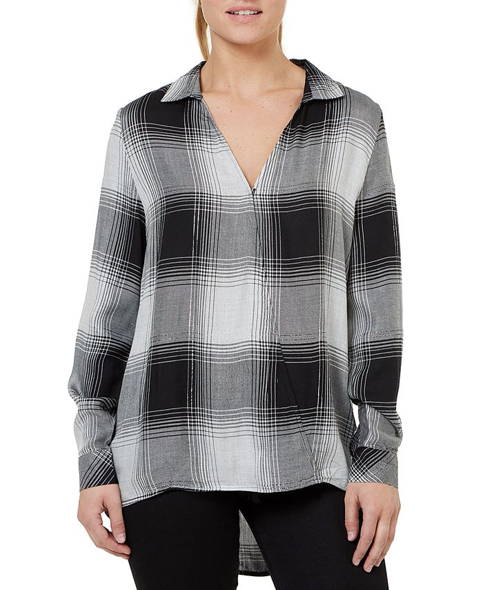 Numero - Plaid Crossover V-Neck Top