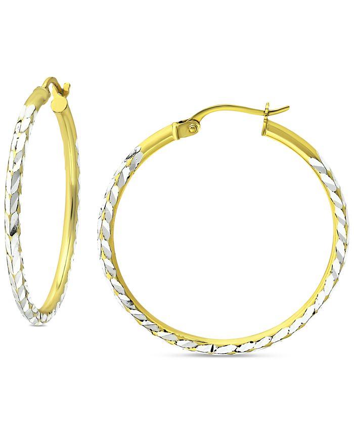 "Giani Bernini - Medium Textured Hoop Earrings in Sterling Silver & 18k Gold-Plate, 1.18"""