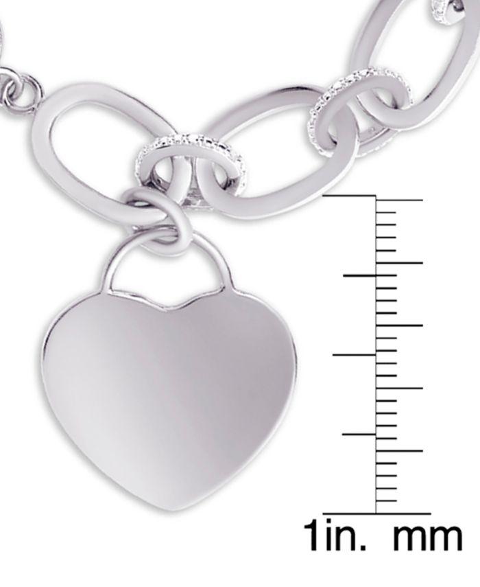 Macy's Diamond Heart Charm Bracelet (1/10 ct. t.w.) in Sterling Silver & Reviews - Bracelets - Jewelry & Watches - Macy's