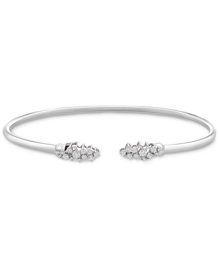 Wrapped - Diamond Scattered Cluster Flex Cuff Bangle Bracelet (1/3 ct. t.w.) in Sterling Silver