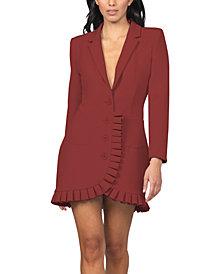 bebe Pleated-Ruffle-Trim Blazer Dress
