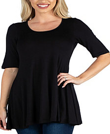 Women's Elbow Sleeve Swing Tunic Top