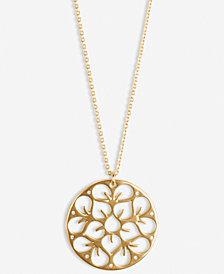 "Lucky Brand Gold-Tone Pavé Openwork Flower Coin Long Pendant Necklace, 31"" + 2"" extender"