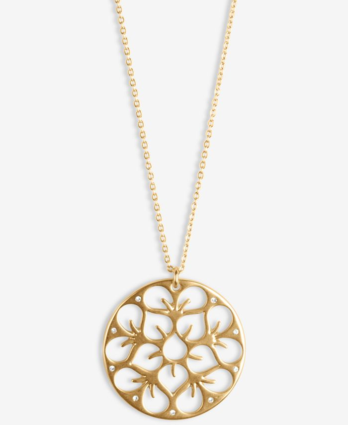 "Lucky Brand - Gold-Tone Pavé Openwork Flower Coin Long Pendant Necklace, 31"" + 2"" extender"