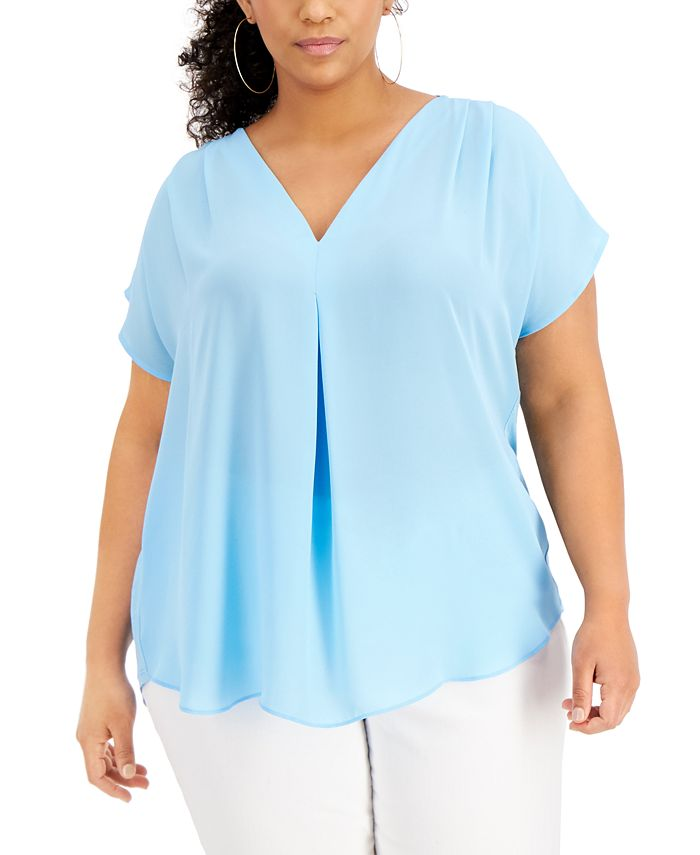 INC International Concepts - Plus Size Mixed-Media Dolman-Sleeve Top