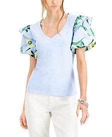 INC Printed Ruffled-Sleeve Top, Created for Macy's