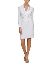Harper Rose Satin-Collar Tuxedo Dress