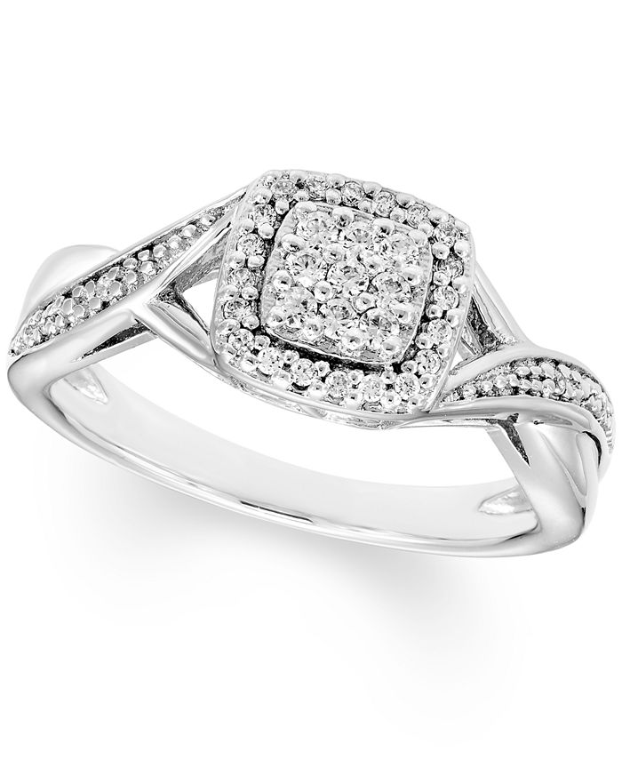 Macy's - Diamond Square Cluster Ring (1/5 ct. t.w.) In Sterling Silver