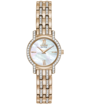 Citizen Women's Eco-Drive Crystal Accent Rose Gold-Tone Stainless Steel Bracelet Watch 22mm EX1243-53D - A Macy's Exclusive