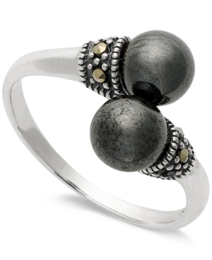 Genevieve & Grace Sterling Silver Hematite (2-1/2 ct. t.w.) and Marcasite Bypass Ring