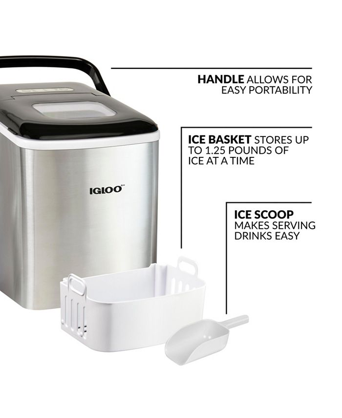 Igloo Iceb26hnss 26 Pound Automatic Self Cleaning Portable Countertop Ice Maker Machine With Handle Stainless Steel Reviews Small Appliances Kitchen Macy S