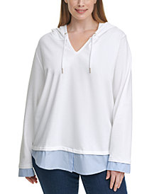Tommy Hilfiger Plus Size Woven-Hem Hoodie