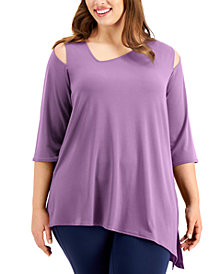 Alfani Plus Size Asymmetrical Cutout Top, Created for Macy's