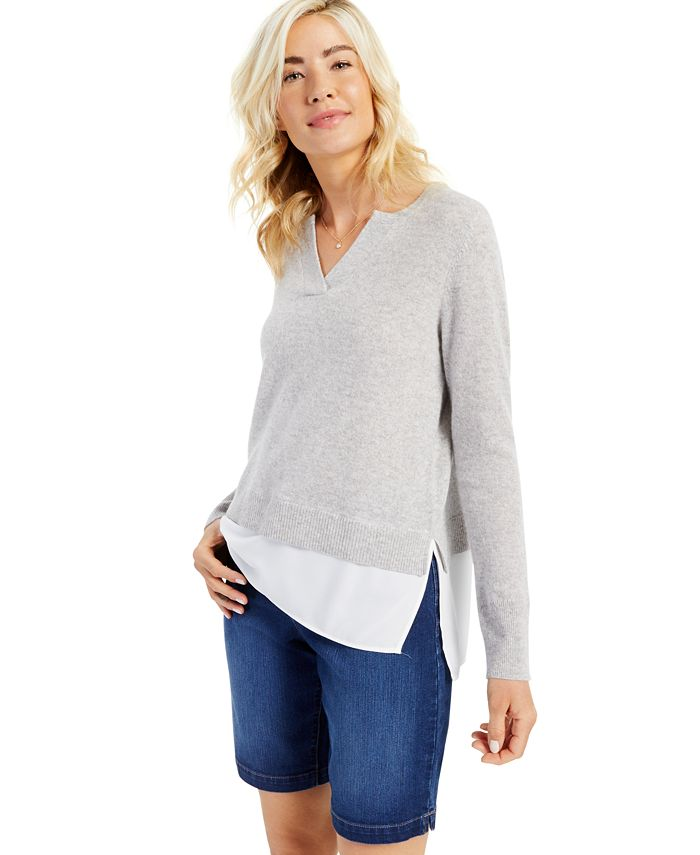 Charter Club - Cashmere Long-Sleeve Split-Neck Twofer, Created for Macy's