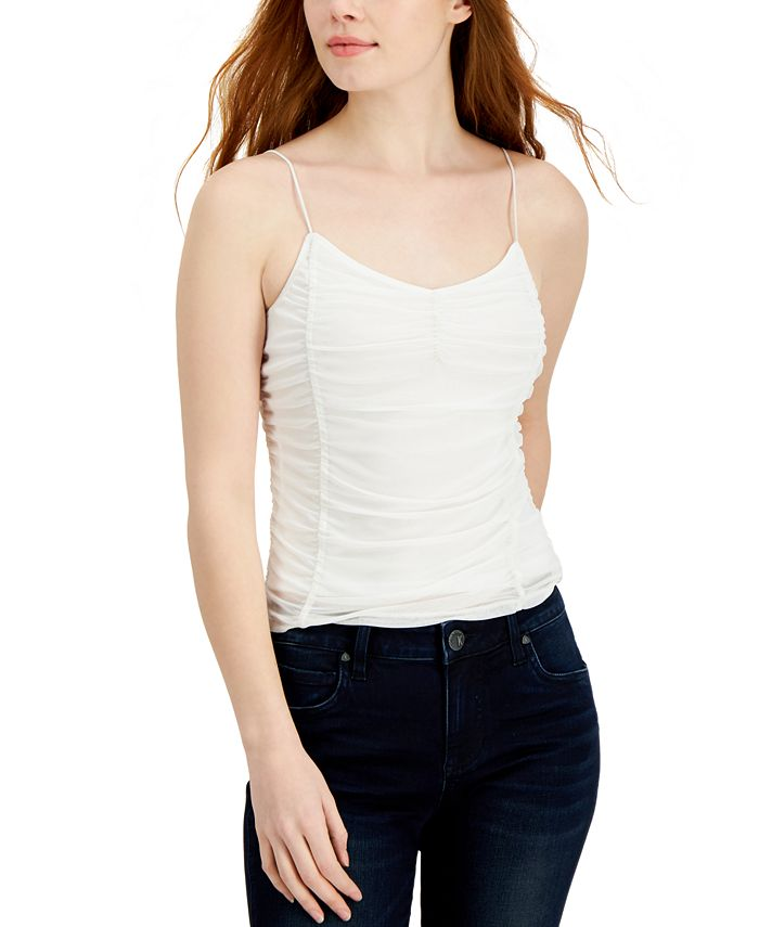 Almost Famous - Juniors' Ruched Mesh Tank Top