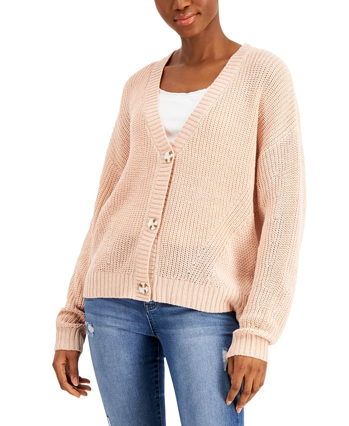 Freshman - Juniors' Drop-Shoulder Cardigan Sweater