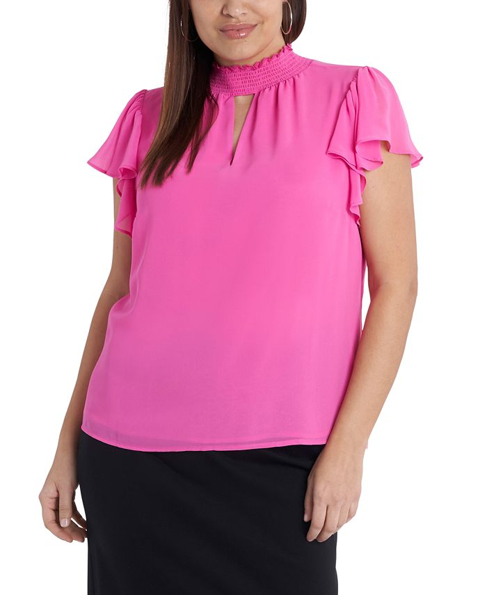 1.STATE - Plus Size Smocked Flutter-Sleeve Top