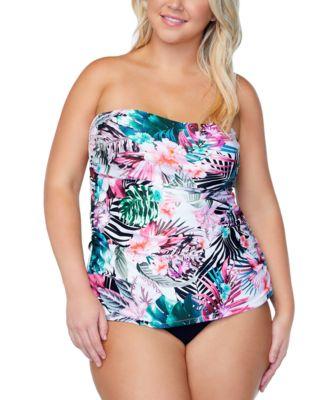 Trendy Plus Size Protea Haute Bloom Printed Tankini Top