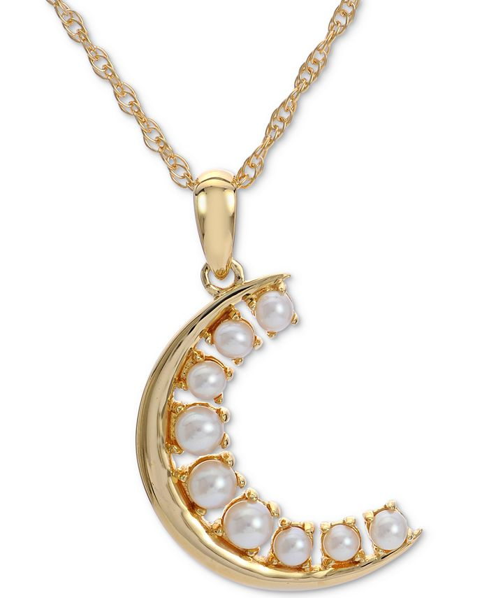"Macy's - Cultured Freshwater Pearl Crescent Moon (2-1/2-3mm) 18"" Pendant Necklace in 14k Gold-Plated Sterling Silver"