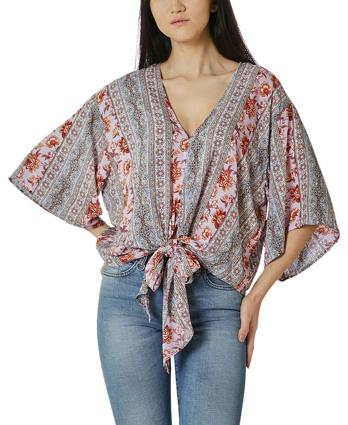 Polly & Esther - Juniors' Oversized Tie-Front Blouse