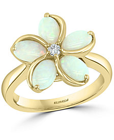 EFFY® Opal (1-3/8 ct. t.w.) & Diamond (1/20 ct. t.w.) Flower Ring in 14k Gold