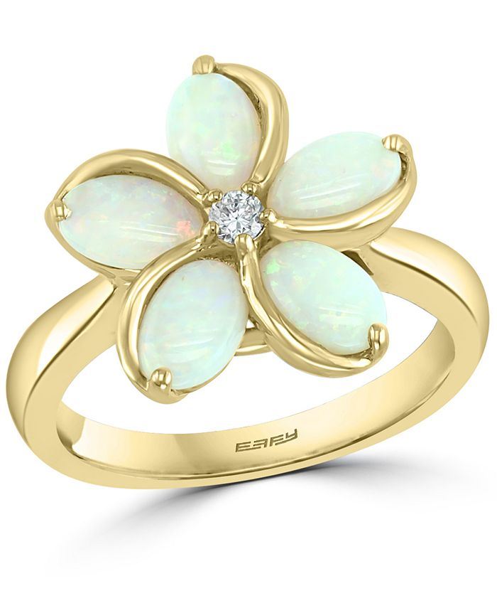 EFFY Collection - Opal (1-3/8 ct. t.w.) & Diamond (1/20 ct. t.w.) Flower Ring in 14k Gold