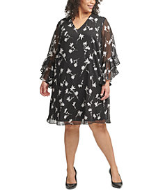 Calvin Klein Plus Size Floral-Print Textured-Chiffon Dress