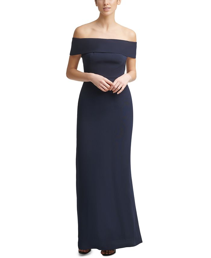 Calvin Klein - Off-The-Shoulder Crepe Gown