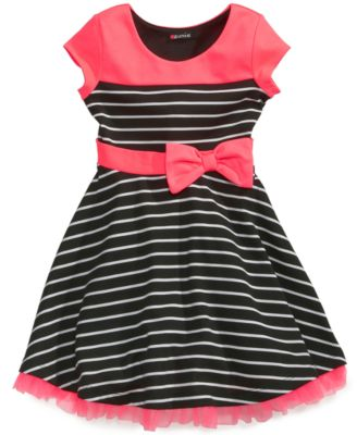 Pink & Violet Little Girls' Striped Short-Sleeve Dress
