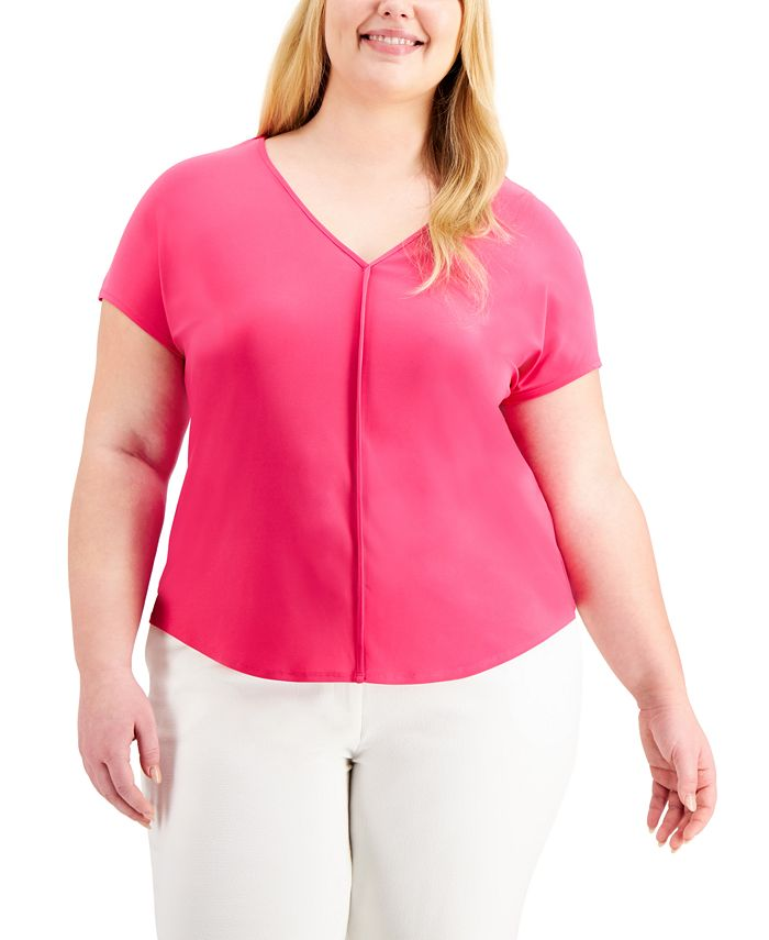 Bar III - Plus Size Seamed V-Neck Top