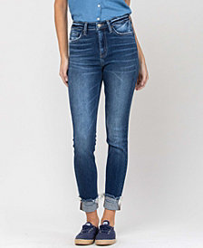 Women's Mid Rise 3D Whiskers Released Fray Hem Skinny with Cuff Jeans